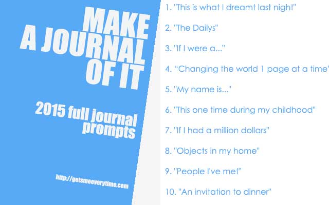 Journal Prompts for 2015 | Gets Me Every Time